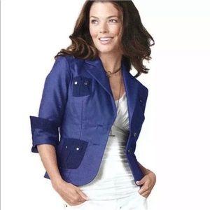 CAbi Blueberry Resort Stretch Blazer NWT Sz 0